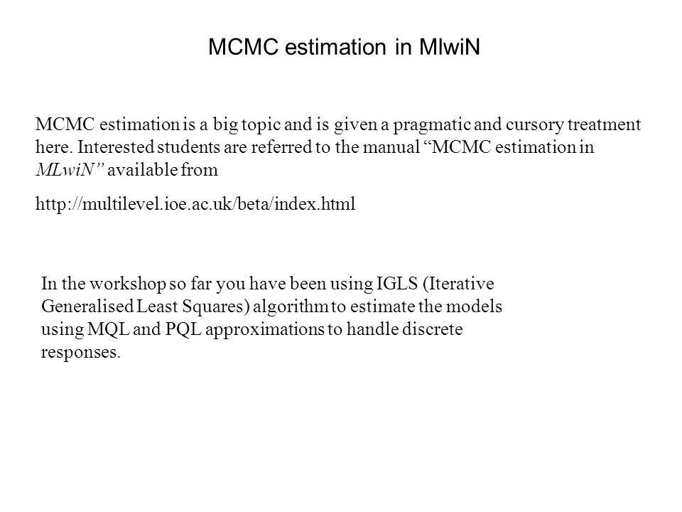 MCMC estimation in MlwiN
