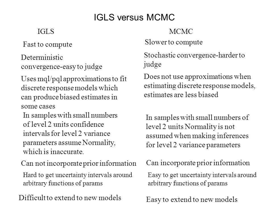 IGLS versus MCMC IGLS MCMC Fast to compute Slower to compute