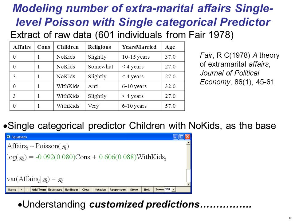 Modeling number of extra-marital affairs Single- level Poisson with Single categorical Predictor