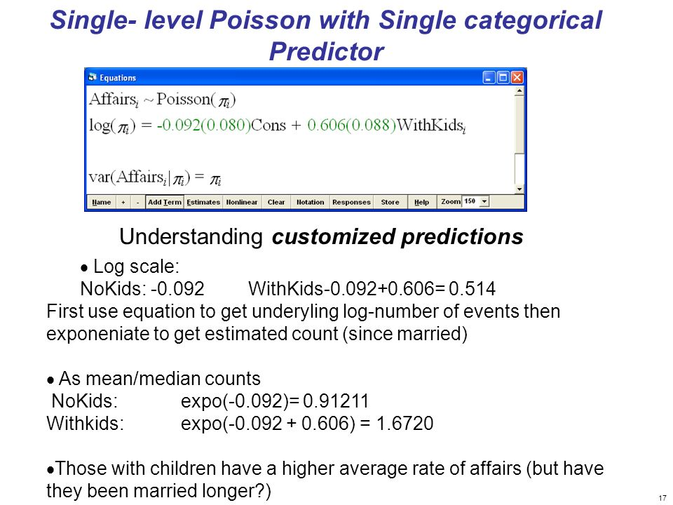 Single- level Poisson with Single categorical Predictor