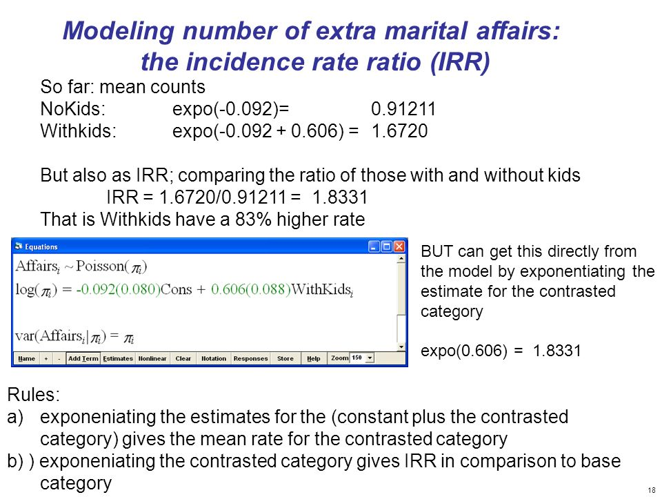 Modeling number of extra marital affairs: