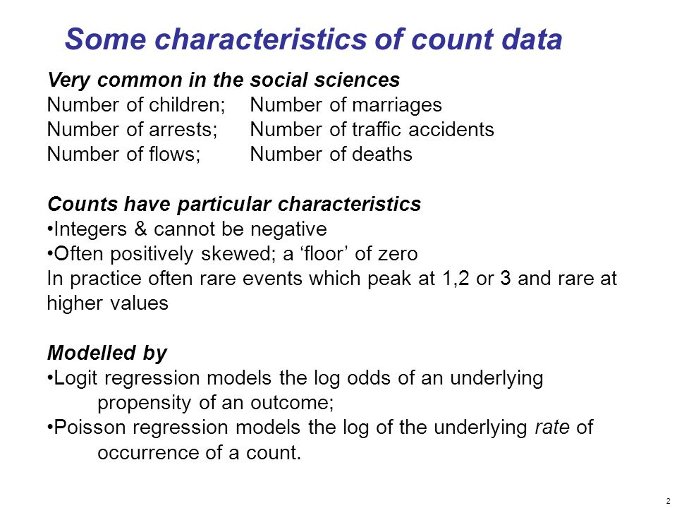 Some characteristics of count data
