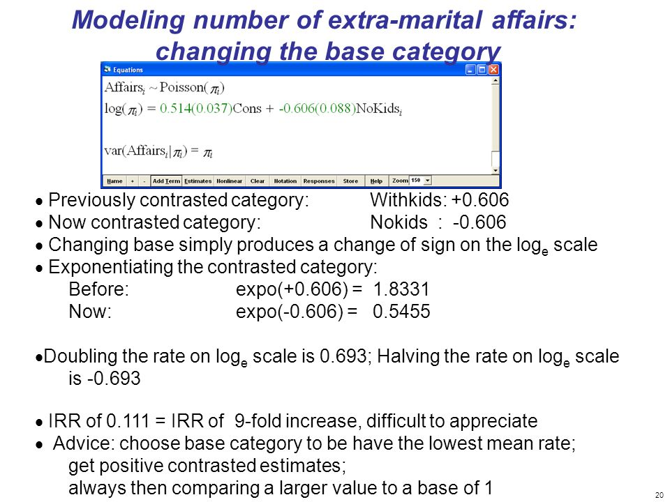 Modeling number of extra-marital affairs: changing the base category