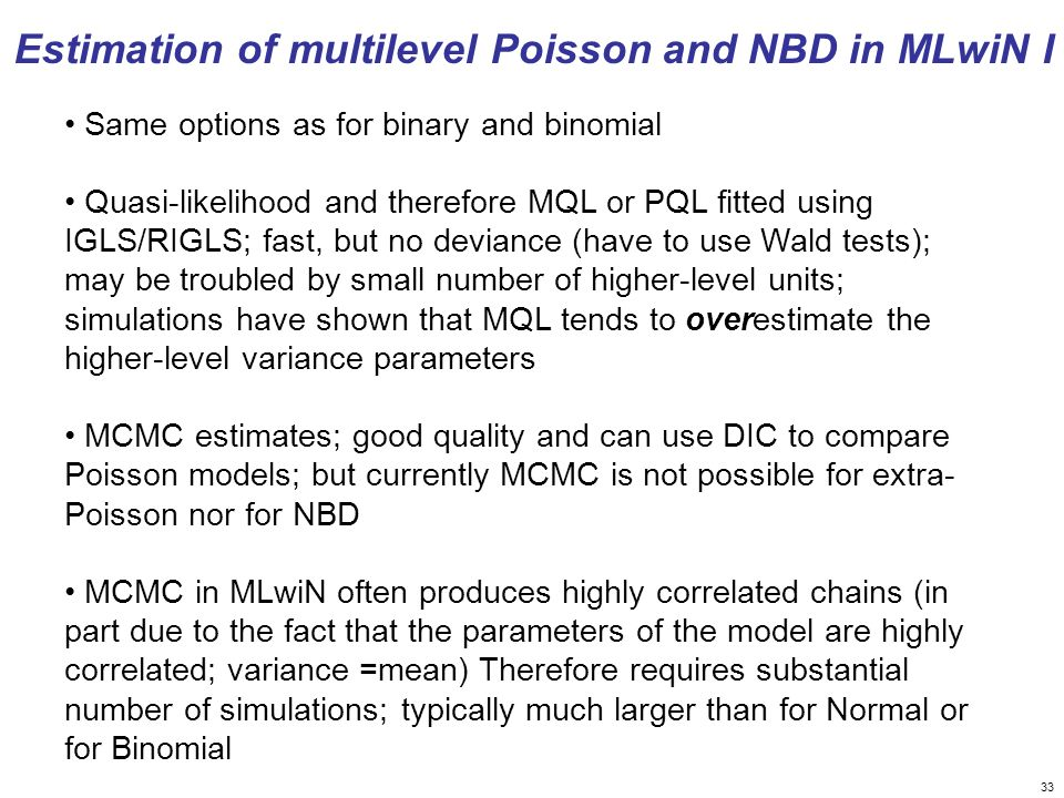 Estimation of multilevel Poisson and NBD in MLwiN I