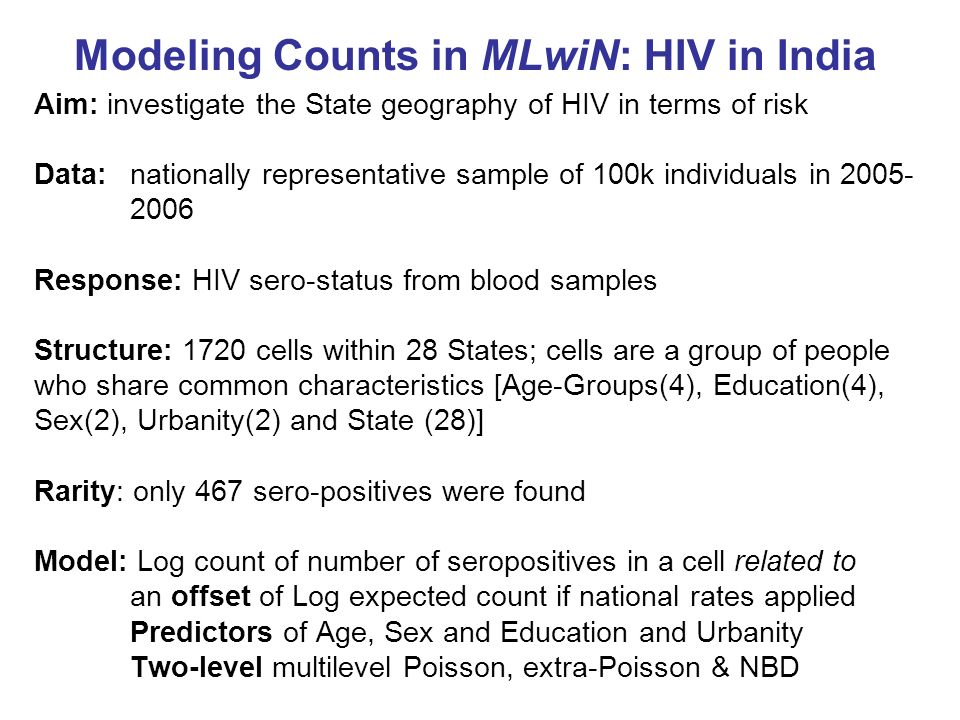 Modeling Counts in MLwiN: HIV in India