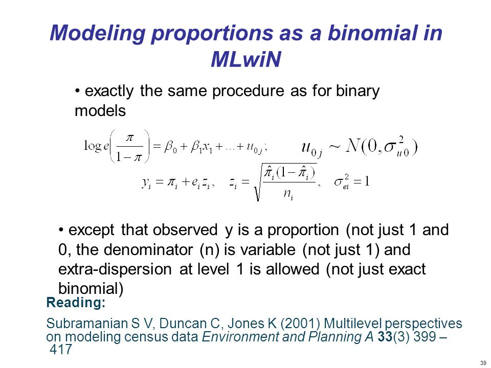 Modeling proportions as a binomial in MLwiN