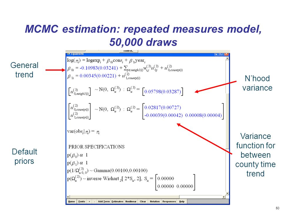 MCMC estimation: repeated measures model, 50,000 draws