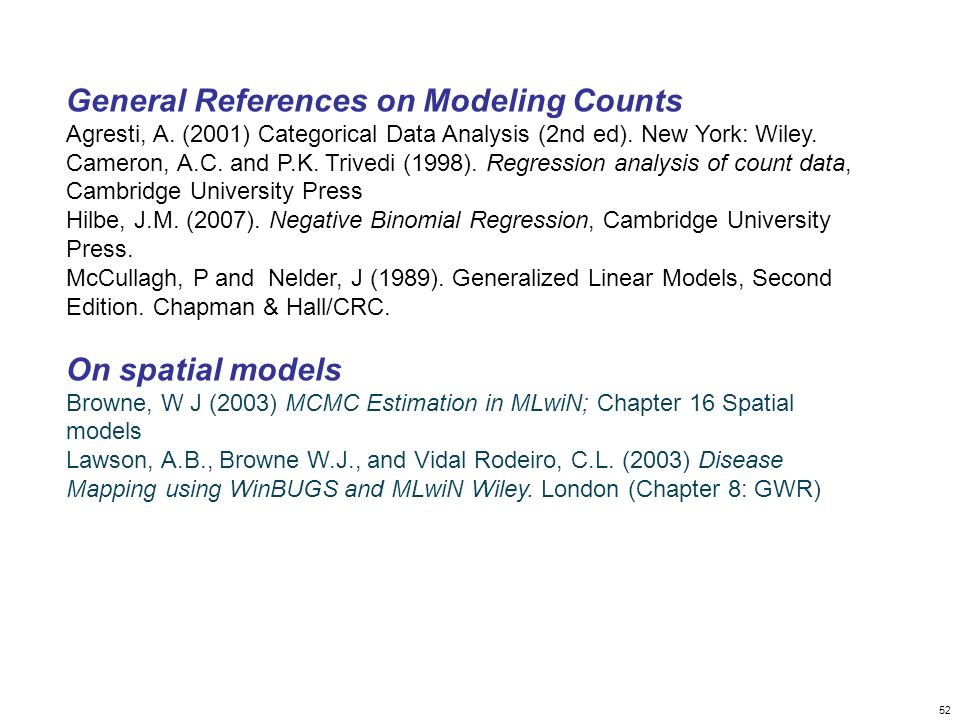 General References on Modeling Counts