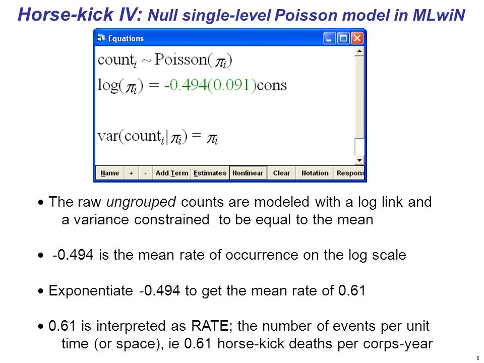 Horse-kick IV: Null single-level Poisson model in MLwiN
