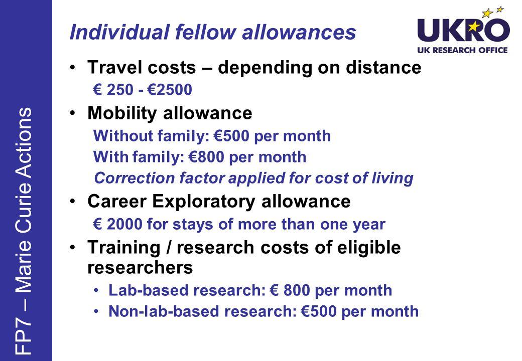 Individual fellow allowances