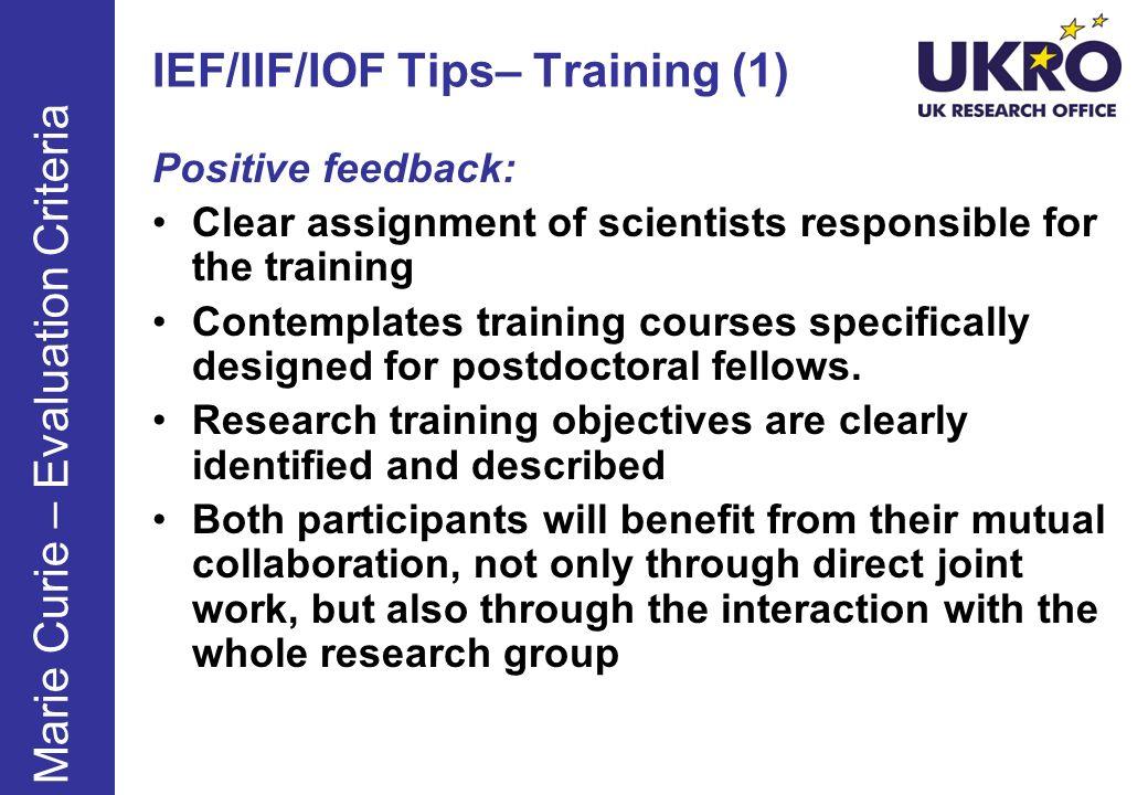IEF/IIF/IOF Tips– Training (1)