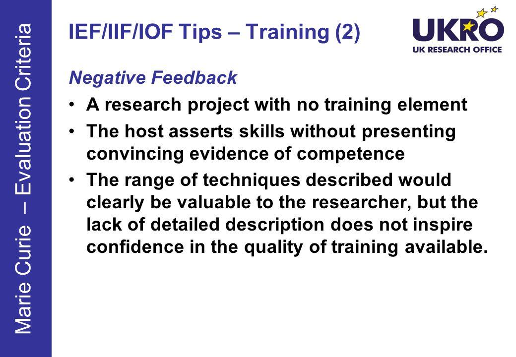 IEF/IIF/IOF Tips – Training (2)