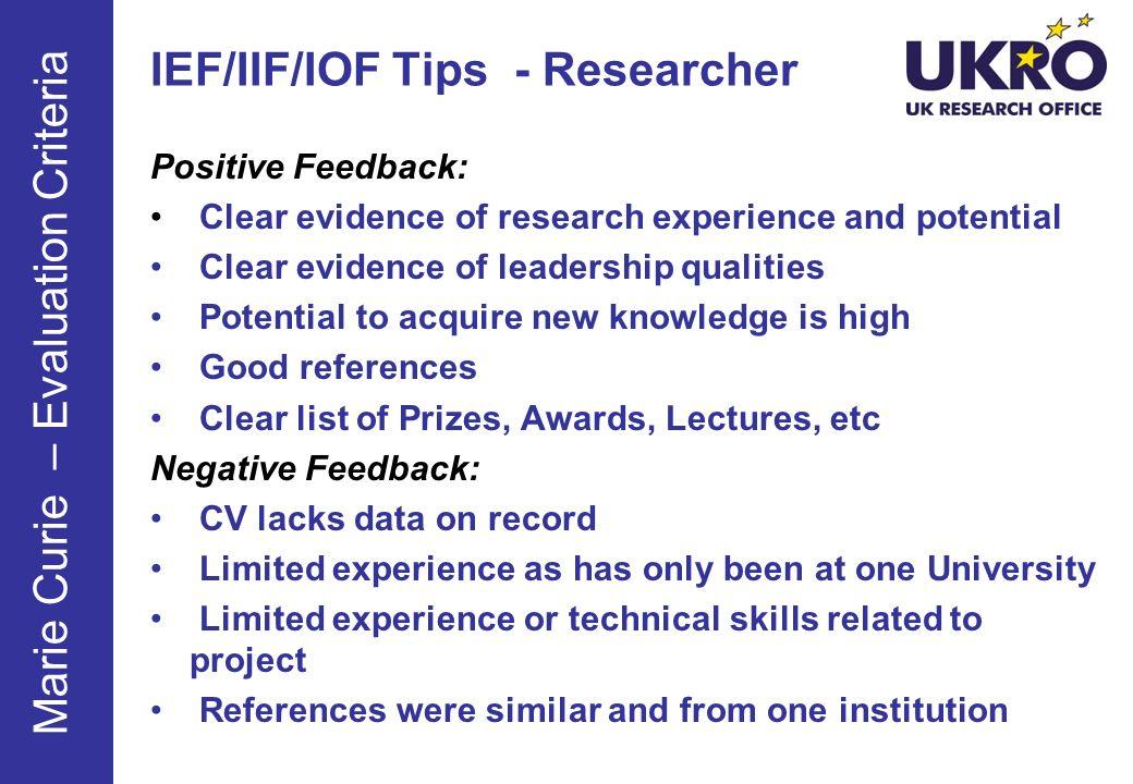 IEF/IIF/IOF Tips - Researcher