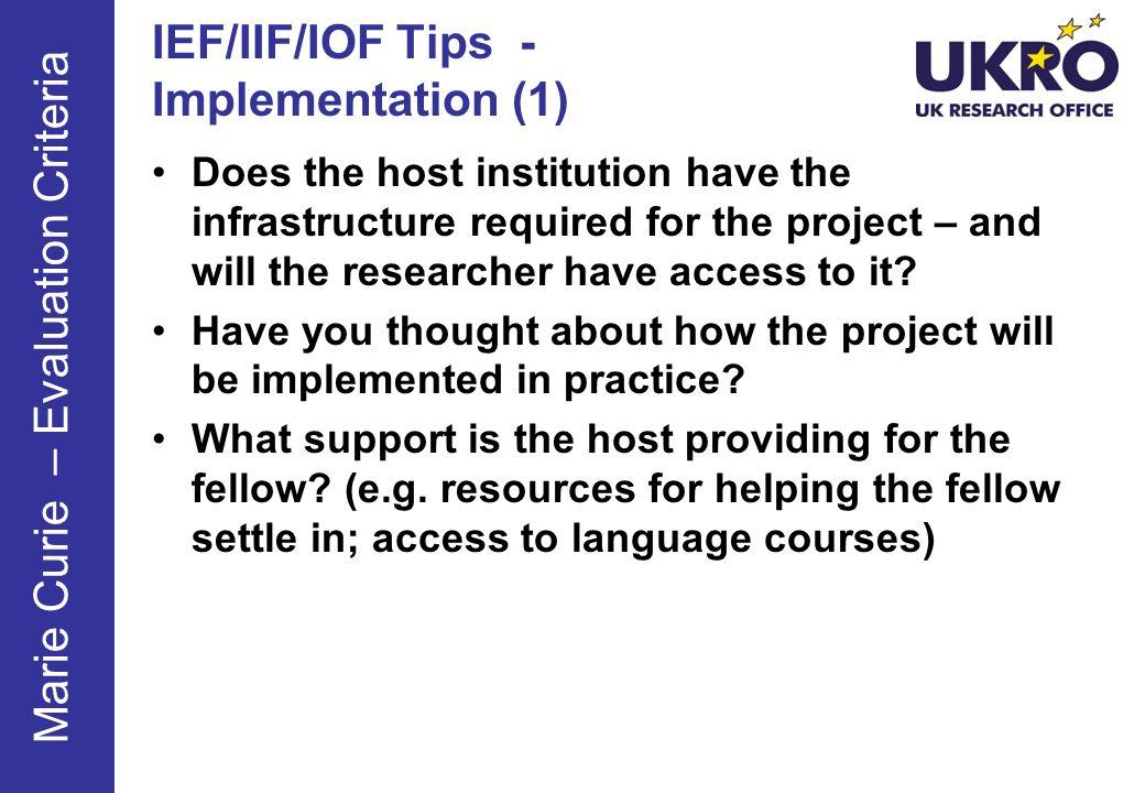 IEF/IIF/IOF Tips - Implementation (1)