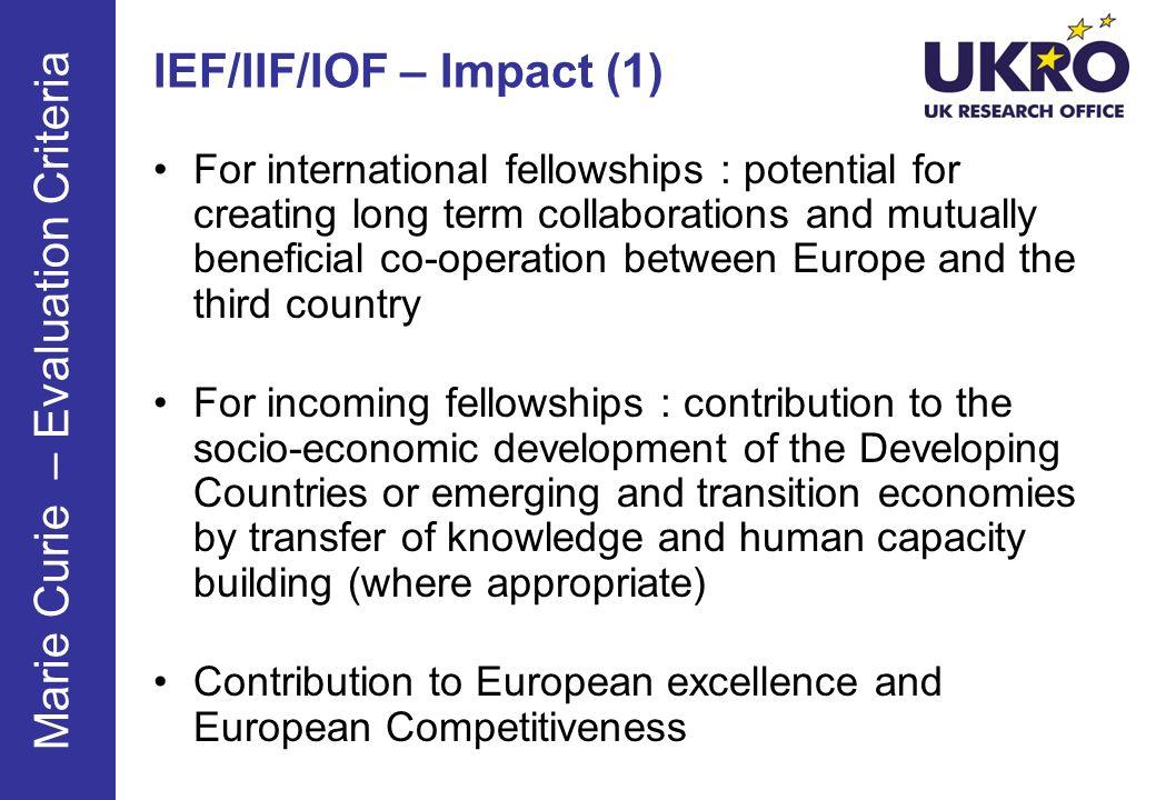 IEF/IIF/IOF – Impact (1)