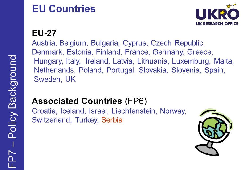 EU Countries FP7 – Policy Background EU-27 Associated Countries (FP6)