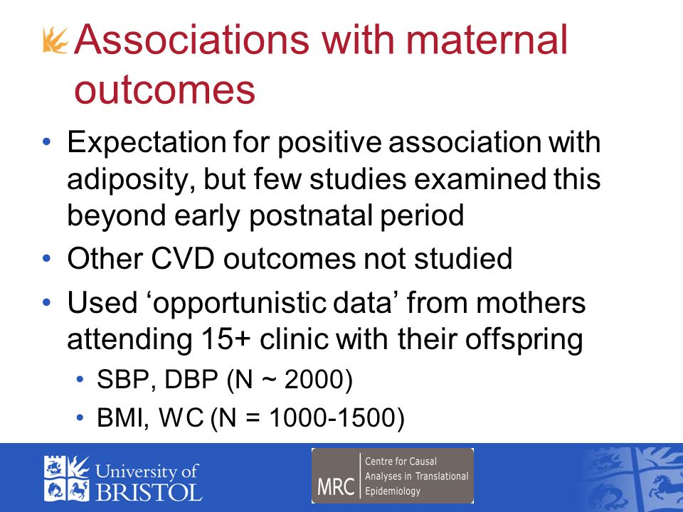 Associations with maternal outcomes
