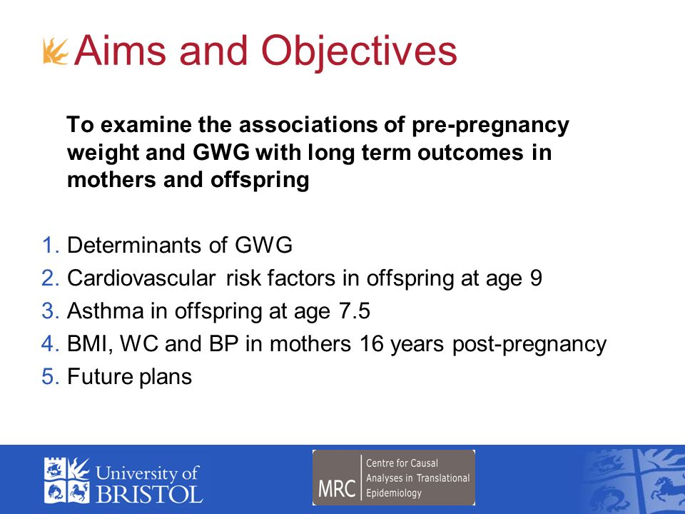 Aims and Objectives To examine the associations of pre-pregnancy weight and GWG with long term outcomes in mothers and offspring.