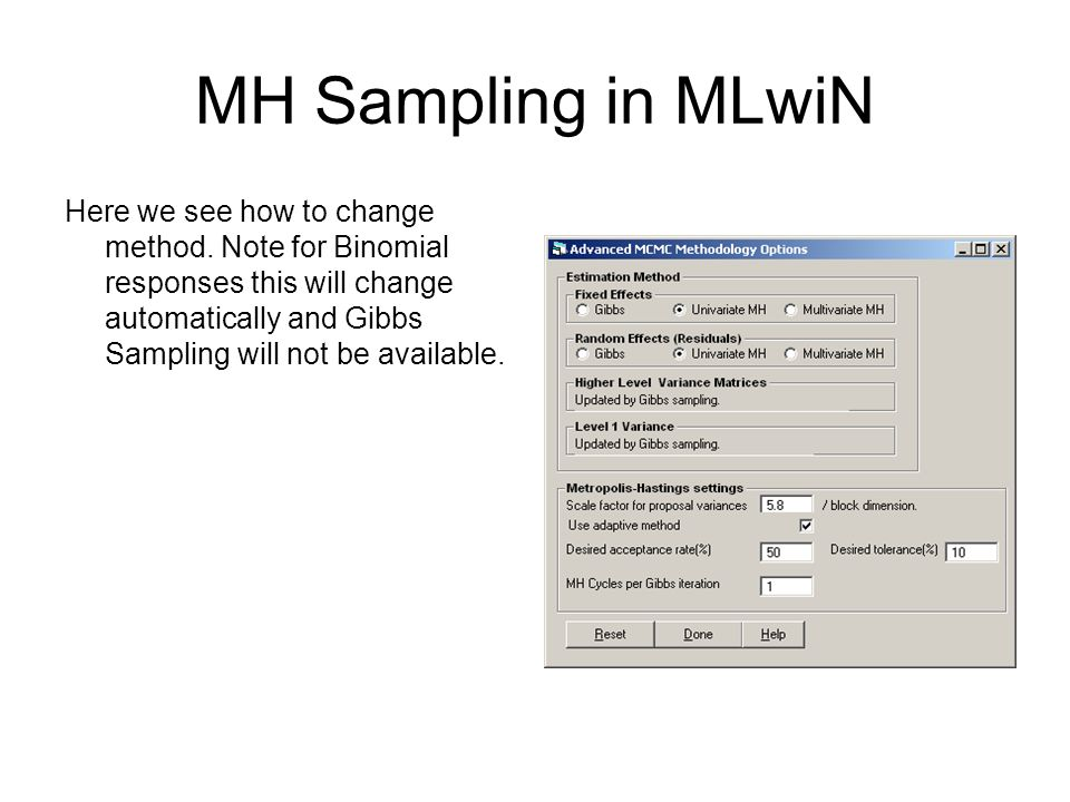 MH Sampling in MLwiN