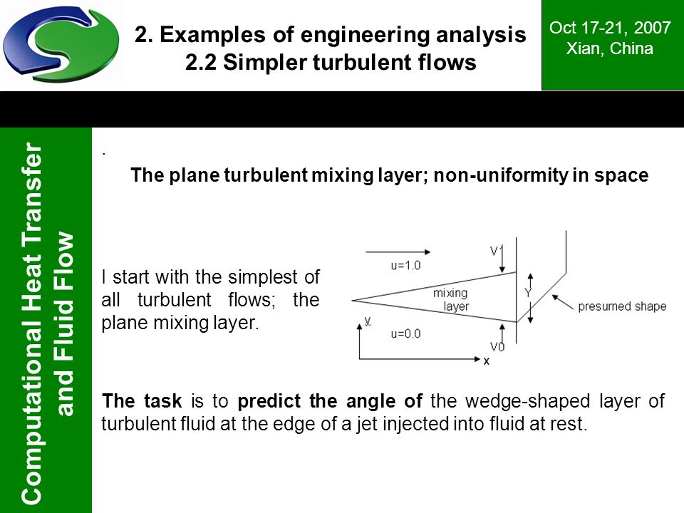 2. Examples of engineering analysis 2.2 Simpler turbulent flows