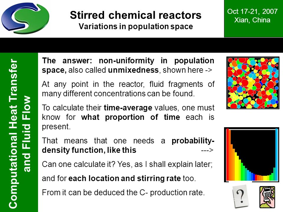 Stirred chemical reactors Variations in population space