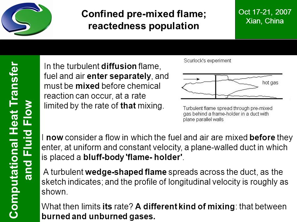 Confined pre-mixed flame; reactedness population