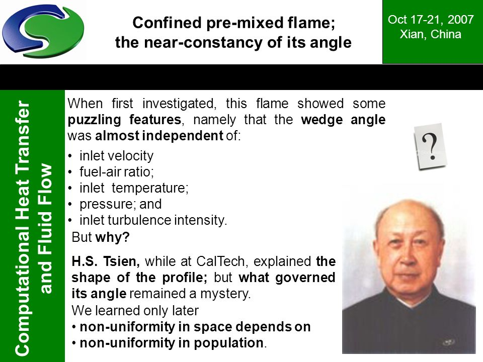 Confined pre-mixed flame; the near-constancy of its angle