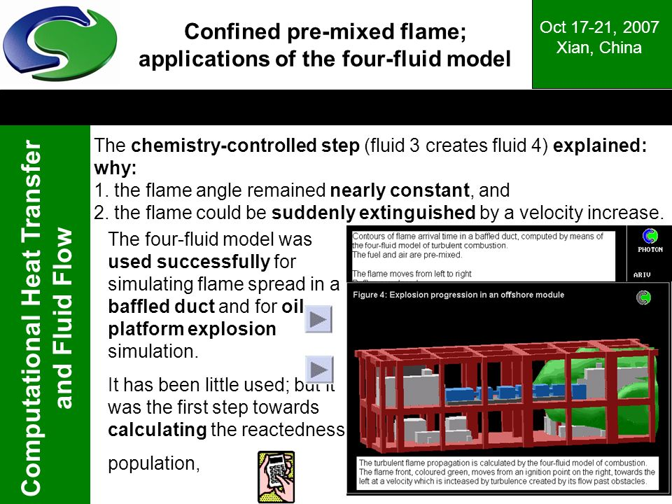 Confined pre-mixed flame; applications of the four-fluid model