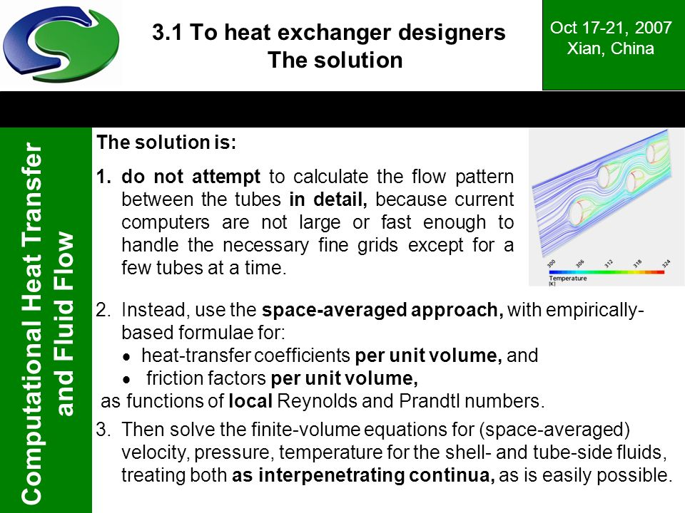 3.1 To heat exchanger designers The solution