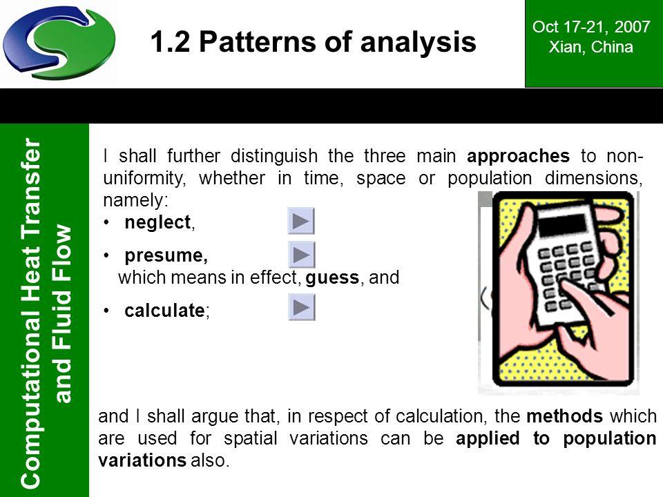 Oct 17-21, 2007 Xian, China. 1.2 Patterns of analysis.