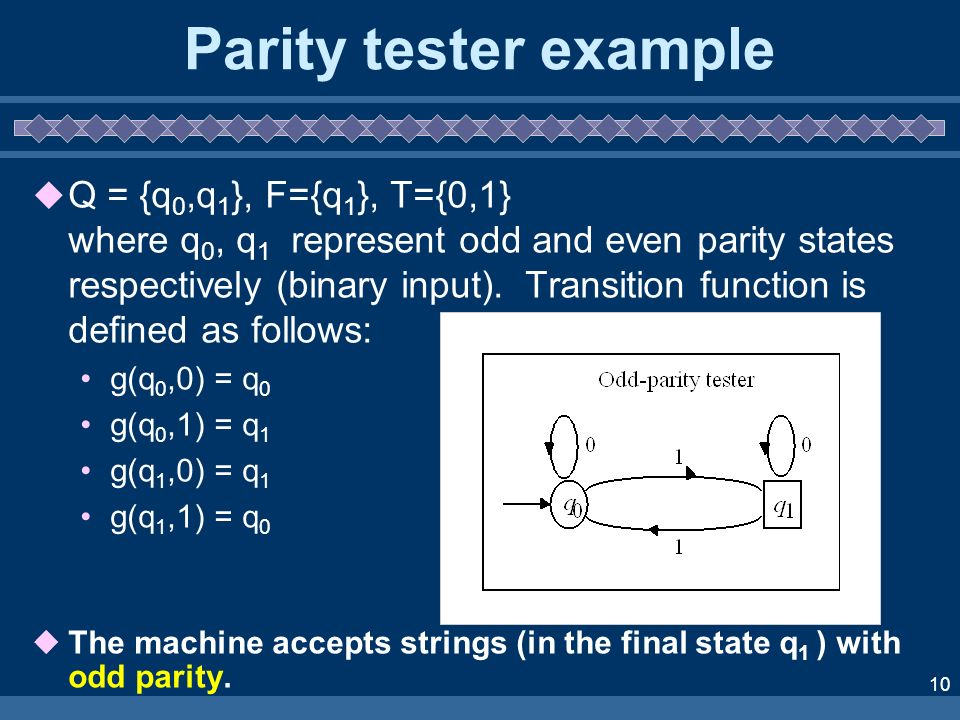 Parity tester example