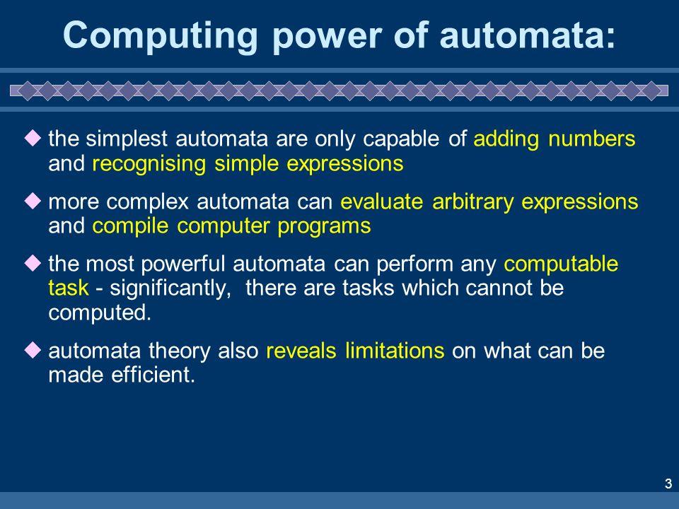 Computing power of automata: