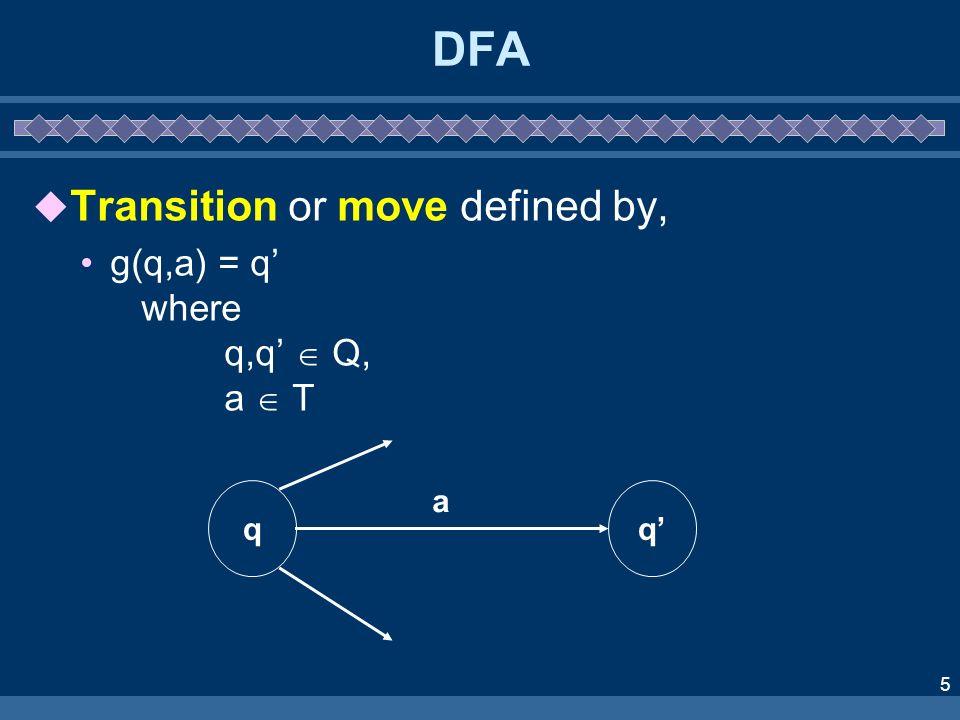 DFA Transition or move defined by, g(q,a) = q' where q,q'  Q, a  T q