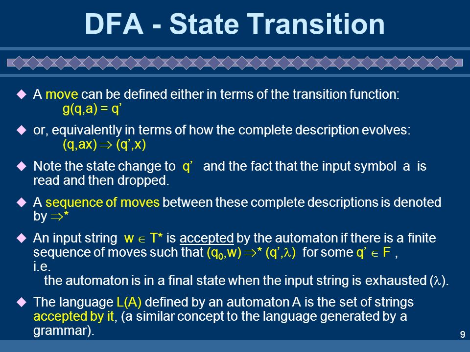 DFA - State Transition A move can be defined either in terms of the transition function: g(q,a) = q'