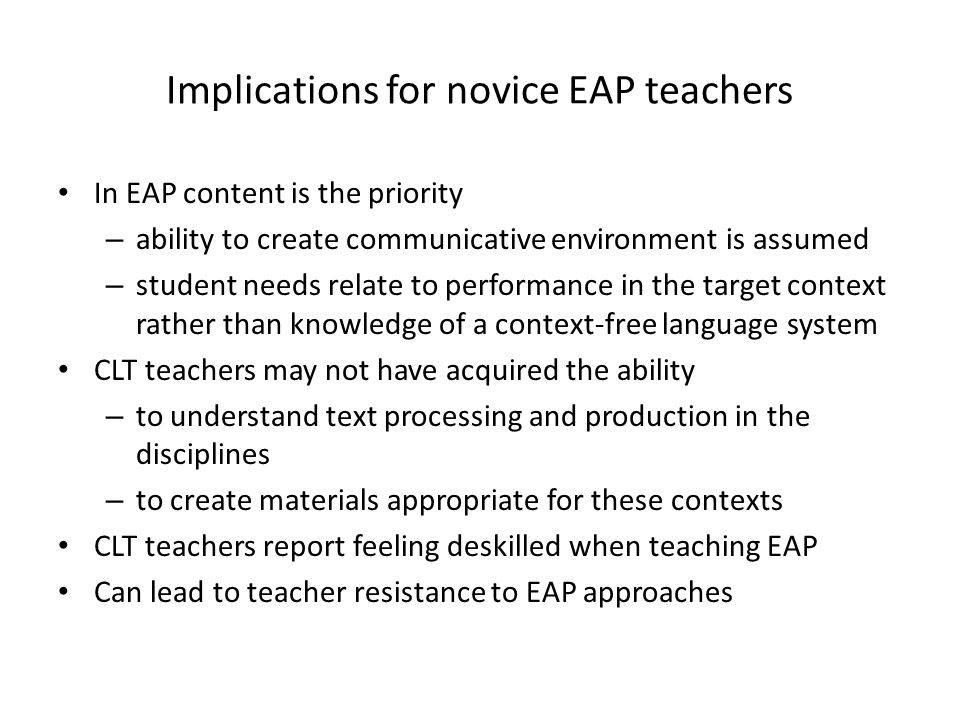 Implications for novice EAP teachers