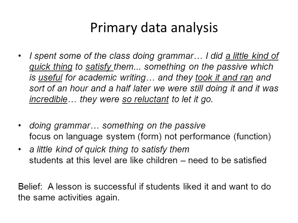 Primary data analysis
