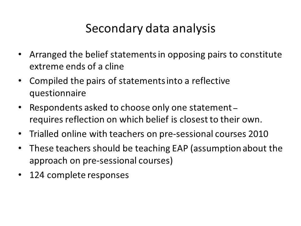 Secondary data analysis