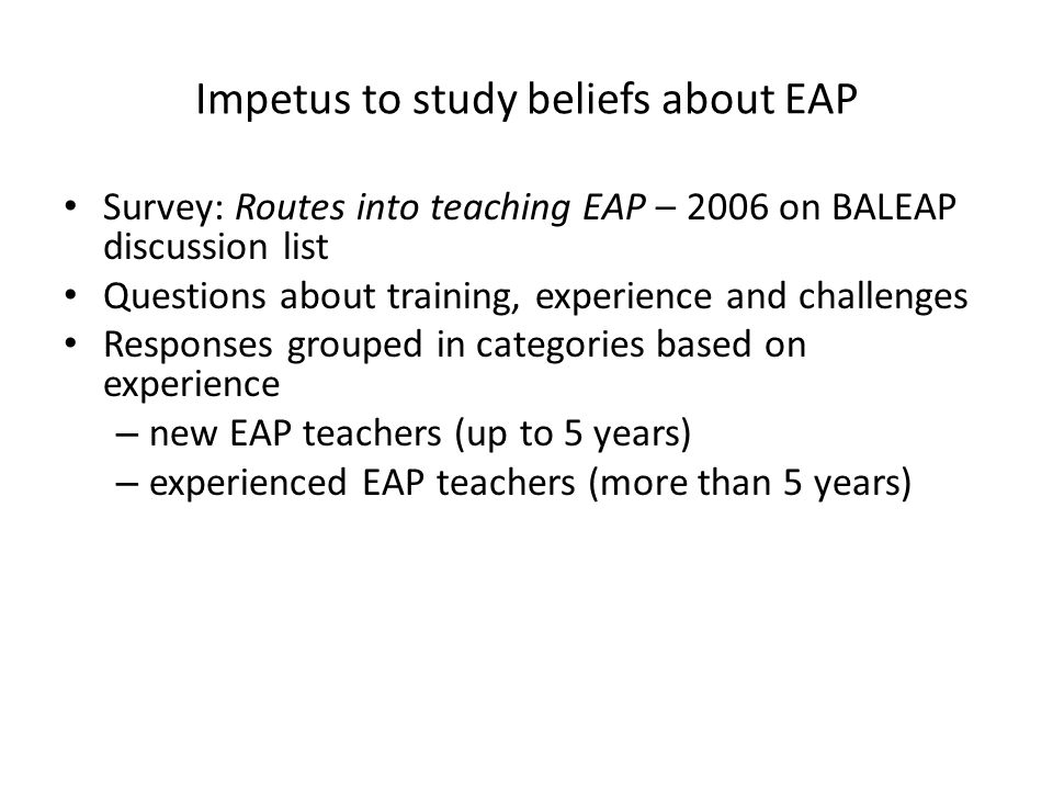 Impetus to study beliefs about EAP