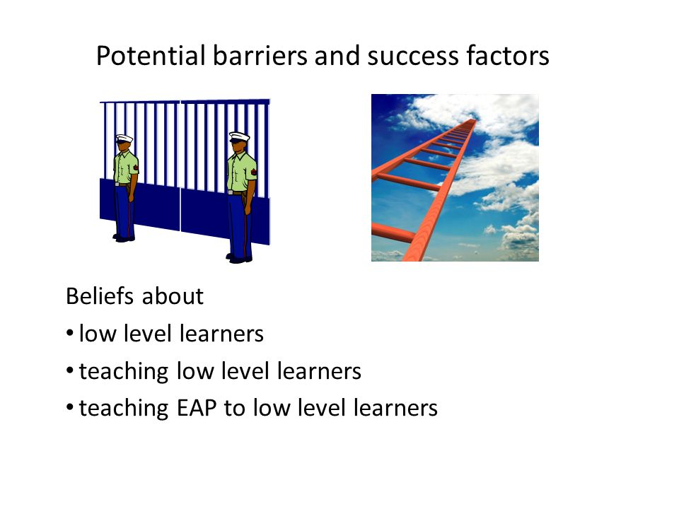 Potential barriers and success factors
