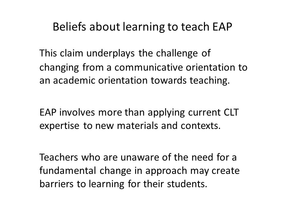 Beliefs about learning to teach EAP