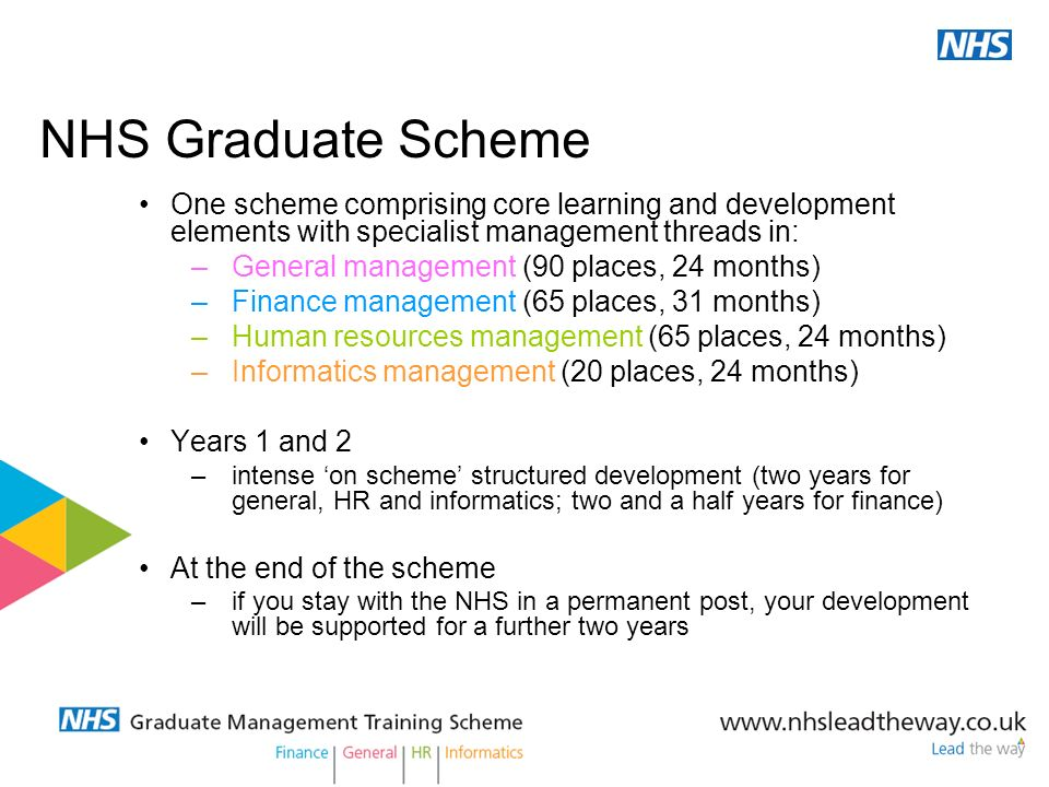 NHS Graduate Scheme One scheme comprising core learning and development elements with specialist management threads in: