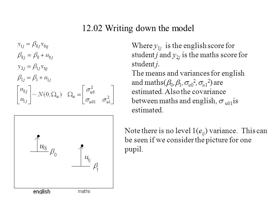 12.02 Writing down the model Where y1j is the english score for student j and y2j is the maths score for student j.