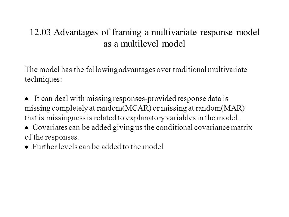 12.03 Advantages of framing a multivariate response model as a multilevel model