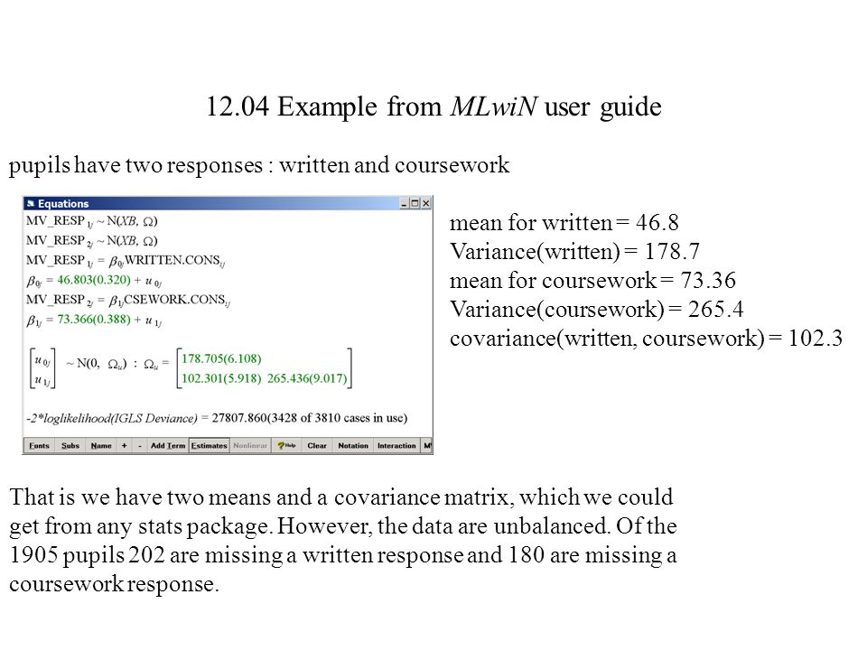 12.04 Example from MLwiN user guide