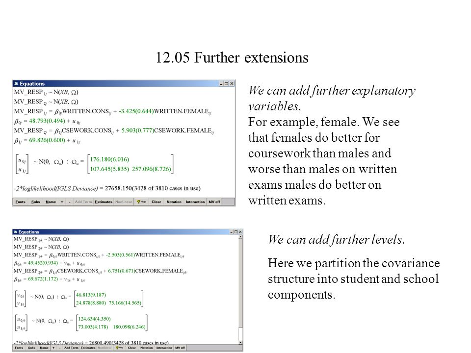 12.05 Further extensions We can add further explanatory variables.