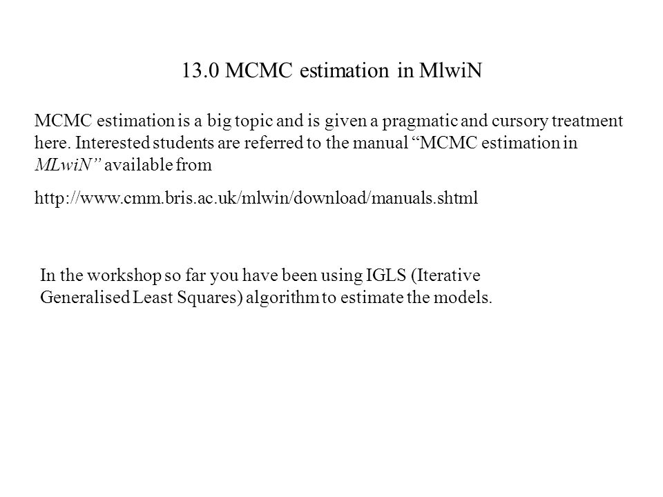 13.0 MCMC estimation in MlwiN
