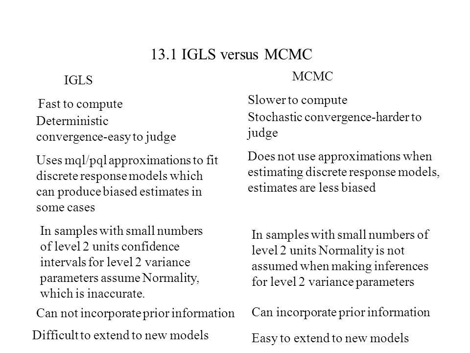 13.1 IGLS versus MCMC MCMC IGLS Slower to compute Fast to compute