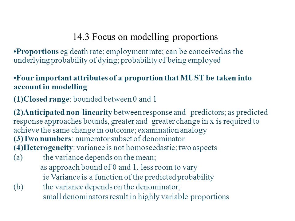14.3 Focus on modelling proportions