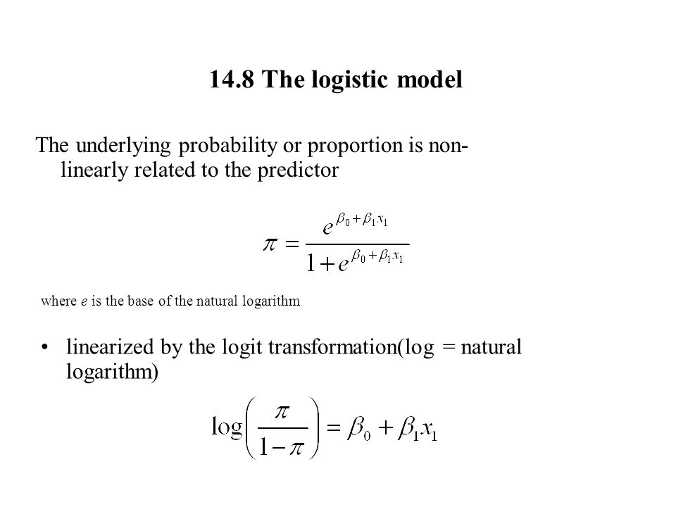 14.8 The logistic model The underlying probability or proportion is non-linearly related to the predictor.