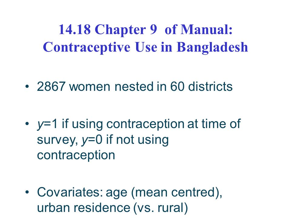 14.18 Chapter 9 of Manual: Contraceptive Use in Bangladesh